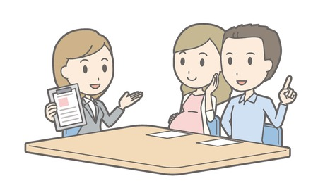 financial adviser: Illustration that a couple talking with a female consultant vol.05