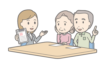 Illustration that a couple talking with a female consultant vol.03 Vettoriali