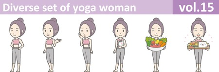 Diverse set of yoga woman, EPS10 vol.15