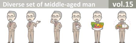 Diverse set van man van middelbare leeftijd, EPS10 vol.15