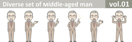 Diverse set of middle-aged man, EPS10 vol.01 矢量图像