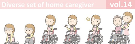 Diverse set of home caregiver, EPS10 vol.14