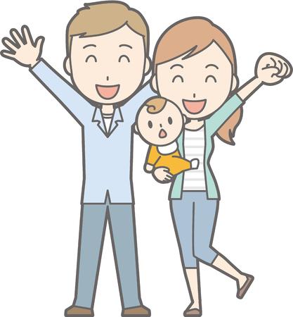 Healthy family No.04 (family of 3)(2 generations) Illustration