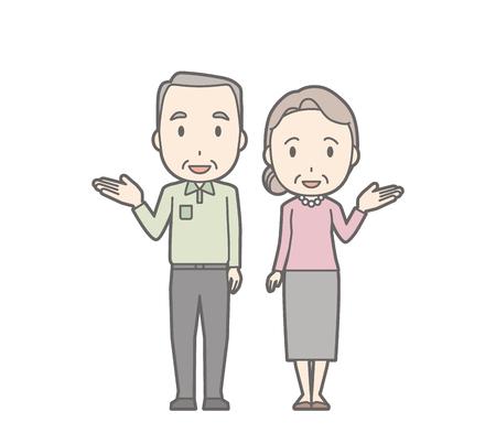 Illustration of an elderly couple guiding.