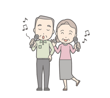 Illustration of an elderly couple karaoke.
