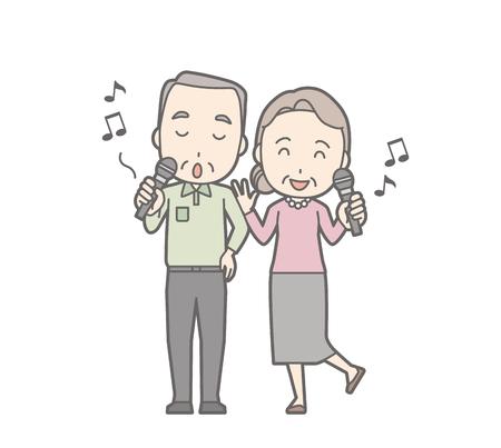 Illustration of an elderly couple karaoke.