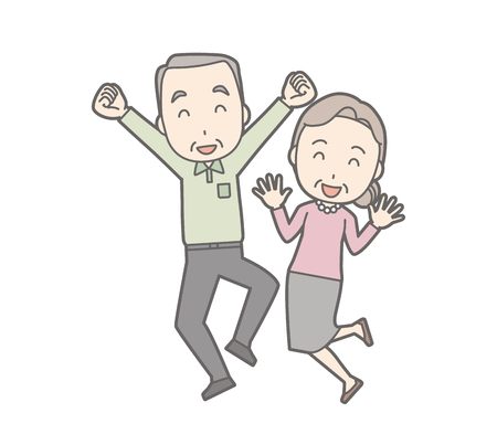An illustration of an old couple laughing and jumping.