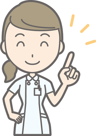 An illustration that a nurse wearing a white suit is pointing a finger with a smile Illustration