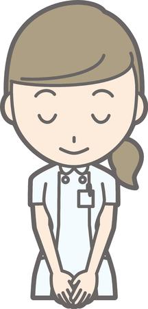 看護師の白いスーツを着て笑顔でお辞儀イラスト  イラスト・ベクター素材