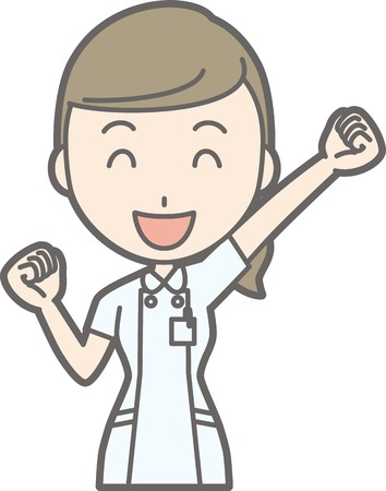 An illustration that a nurse wearing a white suit raises one hand and is playing a guts pose