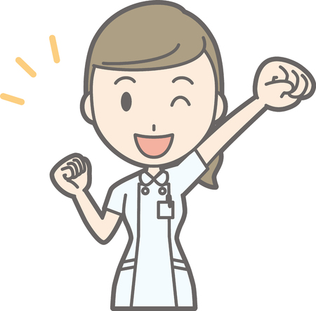 Illustration that a nurse wearing a white suit raises one hand and is supporting