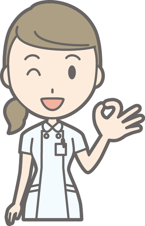 Illustration that a nurse wearing a white suit is doing an okay sign