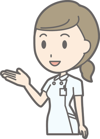 Illustration that a nurse wearing a white garment guides her hand with her hand