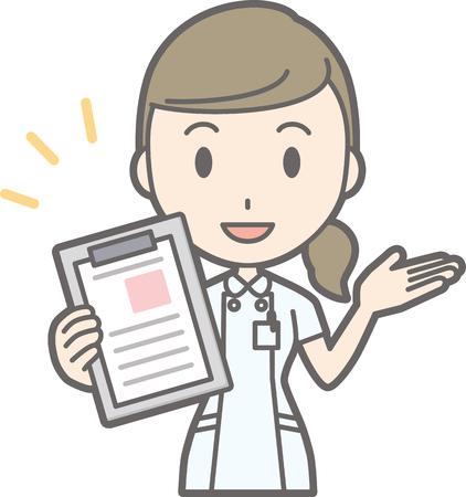 Illustration that a nurse wearing a white suit has a file