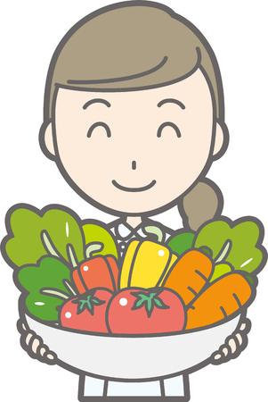 Illustration that nurses wearing white coats have various vegetables