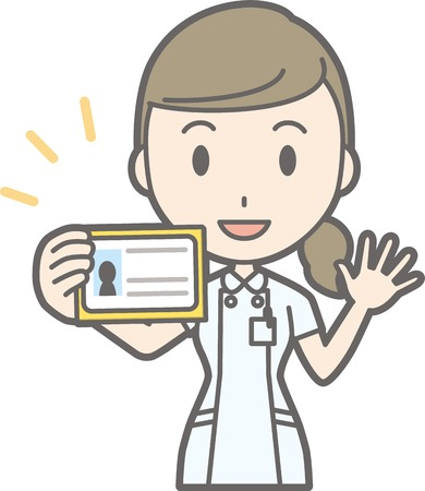 Illustration that a nurse wearing a white suit has an identification card