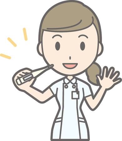 Illustration that a nurse wearing a white suit has a thermometer