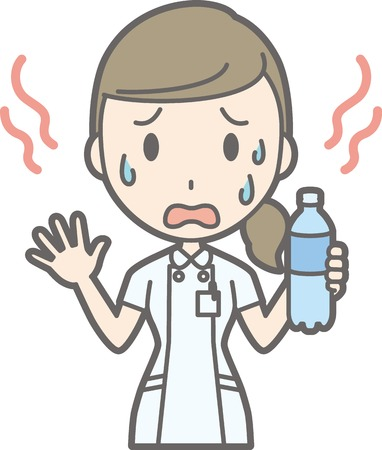 sweaty: Illustration that a nurse wearing a white suit is hot and sweaty