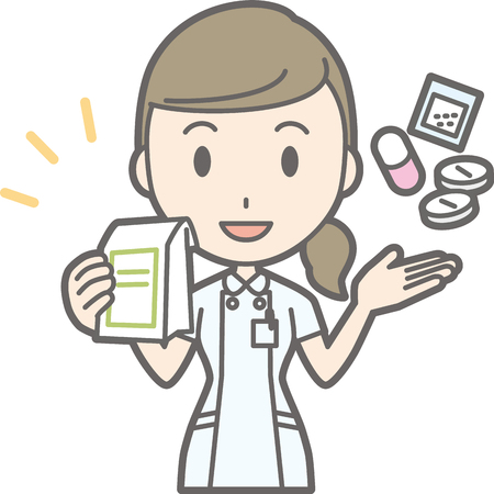 Illustration of a nurse wearing a white suit with medicine