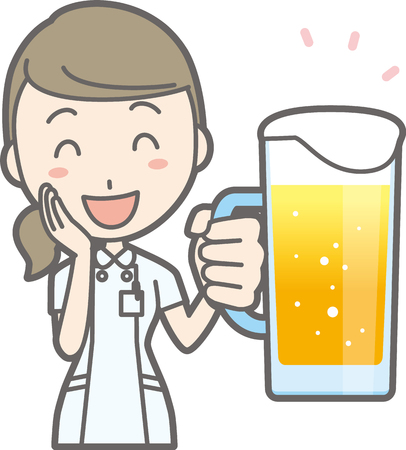 An illustration that a nurse wearing a white suit is laughing with beer Illustration