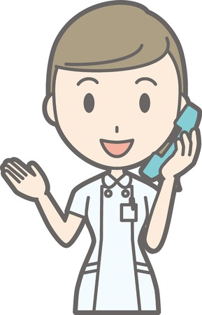 Illustration that a nurse wearing a white coat is calling Иллюстрация