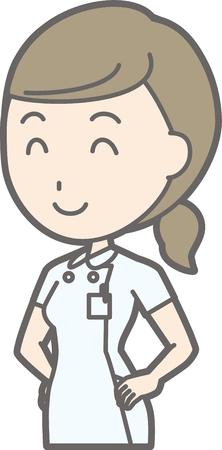 Illustration that a nurse wearing a white coat laughs at the waist Illustration