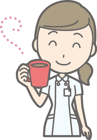 Illustration of a nurse dressed in white coat drinking hot beverages 向量圖像