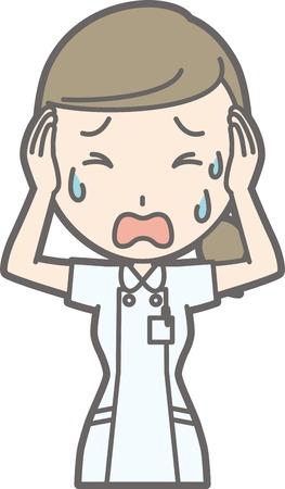 La enfermera que lleva una bata blanca está en problemas Ilustración