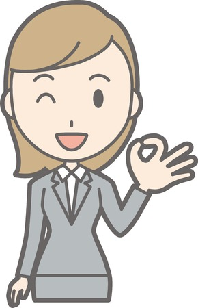 Illustration of a young woman wearing a suit making an okay sign