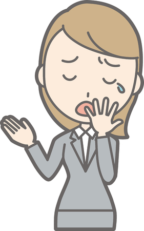 A yawn woman in a suit is yawning. Illustration