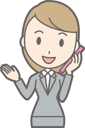 Illustration of a young woman wearing a suit talking on a smartphone