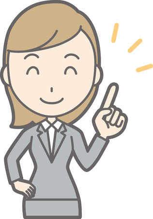 Illustration of a young woman in suit wearing a finger with a smile Illustration