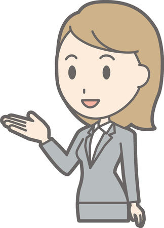 A young woman in suit wearing a smile guides the illustration