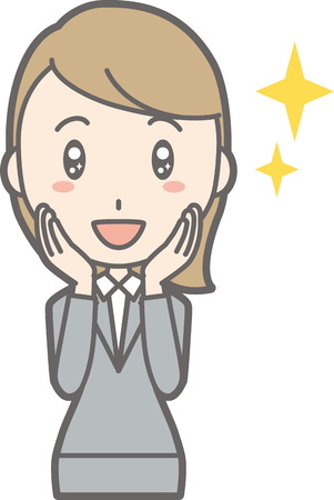 Illustration that a young woman in suit wears her eyes shining Illustration