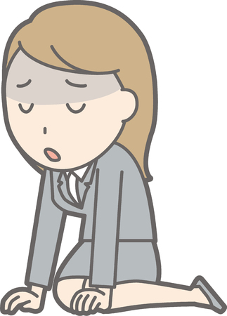 A young woman in a suit is depressed Illustration Illustration