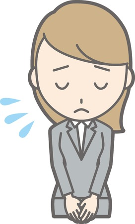 Illustration of a young woman in a suit apologizing Illustration