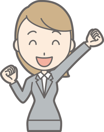 Illustration that a young woman in suit wears raising one hand Illustration