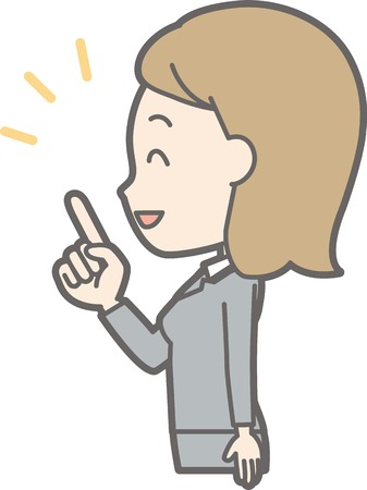 Illustration of a young woman in suit wearing her side pointing at her finger