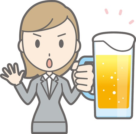 Illustration of a young lady with beer ventilating attention