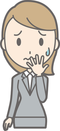 Illustration of a worried young lady wearing suits
