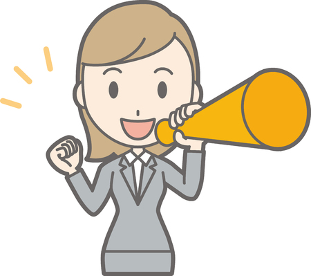 Illustration of a young woman wearing a suit holding a megaphone