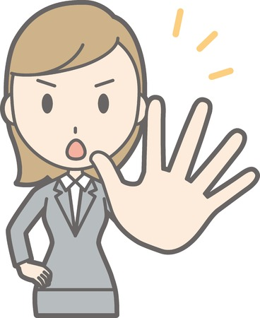 simple girl: Illustration of a young woman in suit wearing her hand forward Illustration