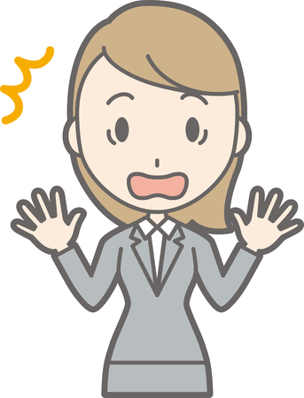 A young woman in a suit is surprised to open his hand