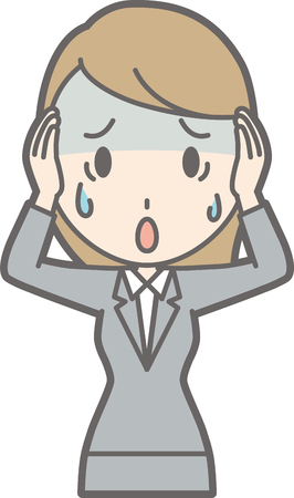 simple girl: Illustration that a young woman in suit wears her head and is pale