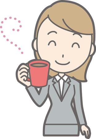 Illustration of a young woman in a suit drinking coffee Illustration