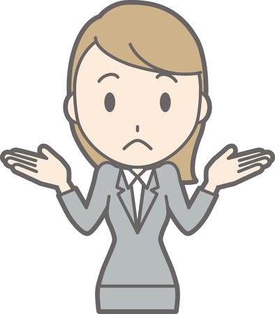 Illustration of a young woman in a suit spreading his hands