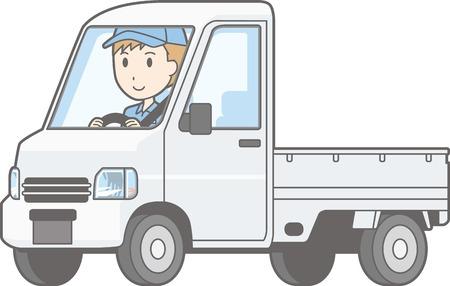 白い背景に分離されたトラックの運転人間のイラスト。