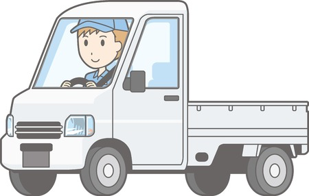 Illustratie van een man die een vrachtwagen, geïsoleerd op een witte achtergrond.