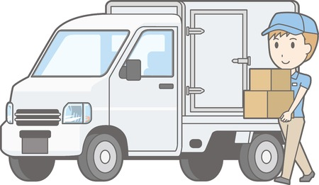 Illustration of light car truck equipped with cold insulation function and male staff carrying luggage