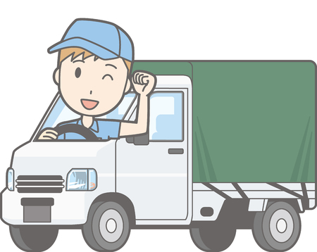 Illustration that a man riding a light car truck with a hood is posing guts